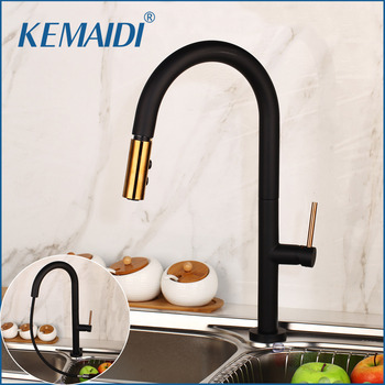 KEMAIDI 2 Ways Spray Solid Brass Black Kitchen Faucet Pull Out Kitchen Sink Hot Cold Water Tap Stream Sprayer  Kitchen Faucet