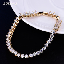 BUDONG 21cm Fashion Chain Link Infinity Bracelets for Women Silver/Gold-Color  Round CZ Crystal Zirconia Wedding Jewelry xuL115