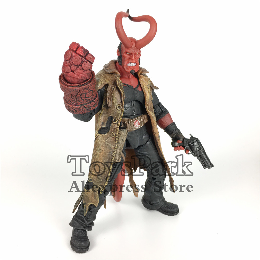 ToysPark Hellboy With Horn HB 7 Action Figure Model With The Samaritan HandGun Collectible No Retail Box 20cm 7 hellboy action figure wounded hellboy includes samaritan handgun cool hb collectible model toy