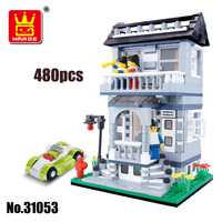 WANGE Building Blocks City Inn Villa House Car Model Building Kits Compatible With Lego Educational Toys