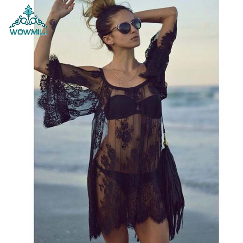 Sexy Pareo Roupa De Banho Sarong Tunic Off Shoulder Lace Mini Dress Pajama Sleep Sress Cover Up Black White S to XL