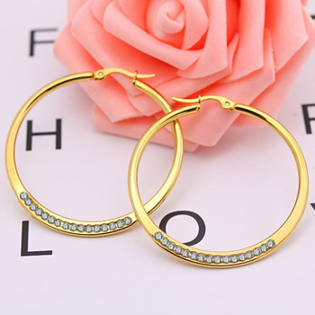 Size 45mm Zircon Round Brief Titanium Stainless Steel Gold Colors Plated Men Earring Hoop Earrings For Women Classic Jewelry