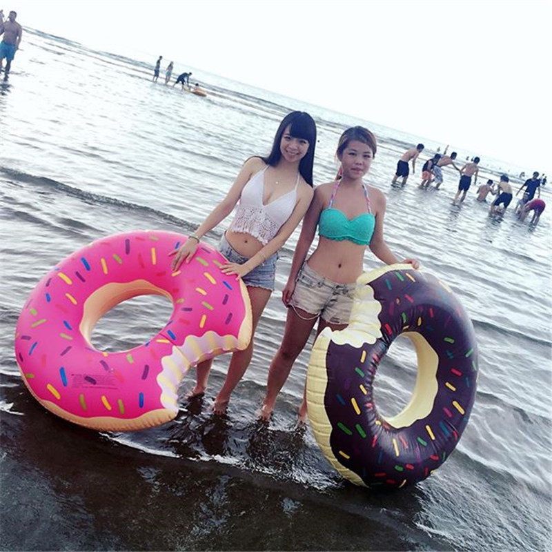 48 Inch Sweet Dessert Giant Pool Floats Adult Super Large Gigantic Doughnut Pool Inflatable Life Buoy Swimming Circle Ring Hot
