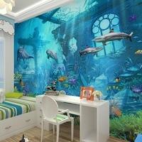 3D Sea World Peixe Em Relevo Foto Wallpapers Murais de Papel De Parede para o Quarto Dos Miúdos Sala Arte Da Parede Decoração Papel De Parede Assecla|Pap. parede|   -