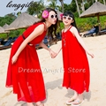 Summer baby mom family matching clothes casual mother daughter dresses fashion family matching outfits solid color chiffon dress