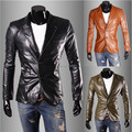 2015 new winter Tide male han edition cultivate one's morality fashion simple pure color leather coat  Leather jacket