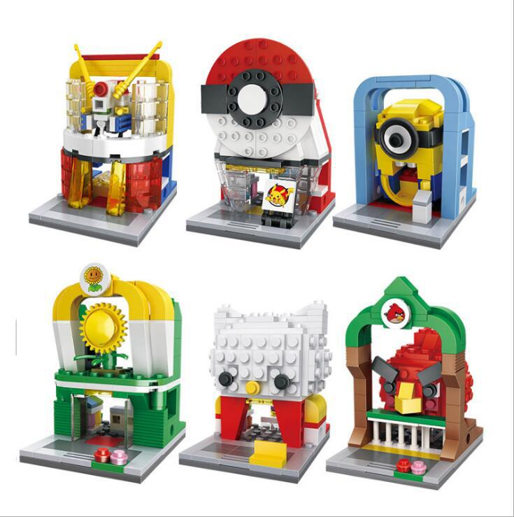 Various Mini Street View Series Building Block Children's Put-in Toys and Gifts City