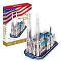 Modelo 3d diy ladrillos creativa juguetes rompecabezas de nueva york catedral modelo de tapa dura de madera juguetes para los niños