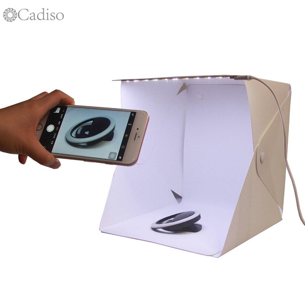 Cadiso Portable LED Light Folding Studio Diffuse Soft Box 24cm 9 Black White Mini Photography Background