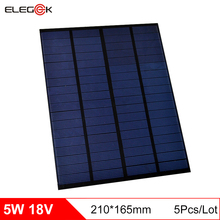 ELEGEEK 5pcs 5W 18V Polycrystalline Solar Cell Panel PET Mini Solar Panel Charging for 12V Battery DIY Solar System