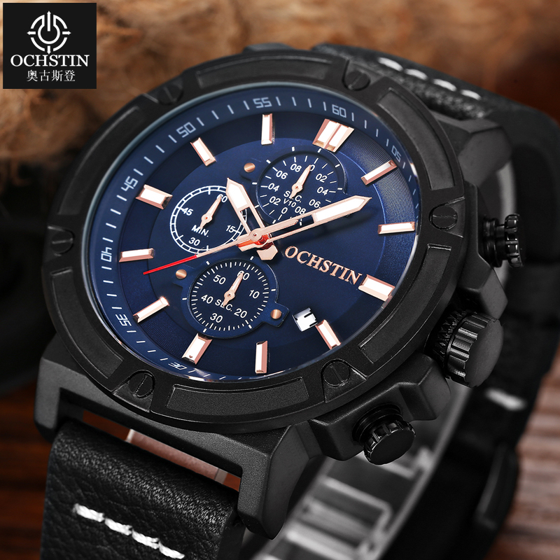 OCHSTIN Sport Mens Watches Top Brand Luxury Military Watch Men Clock Casual Quartz Wrist Watch for Male Reloj Hombre 2017 Saat megir sport mens watches top brand luxury male leather waterproof chronograph quartz military wrist watch men clock saat 2017