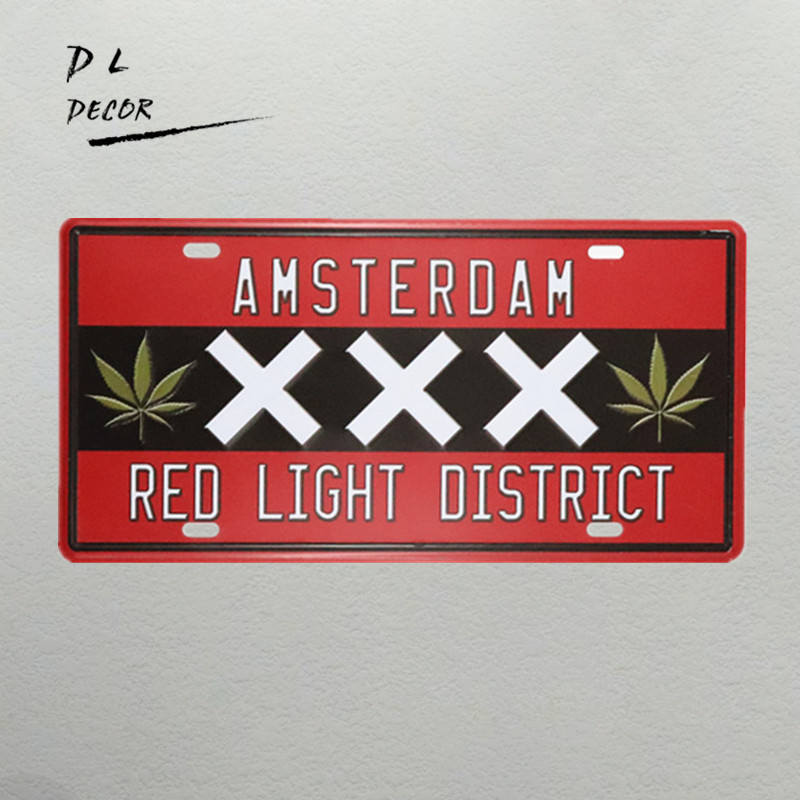 DL-AMSTERDAM red light district License plate vintage tin sign wall decorations for bar club