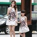 Vestidos Filha da mãe Roupas Mãe e Filha Adolescentes Vestido Sem Mangas Floral Impressão Vestido de Verão Casual Retro Traje