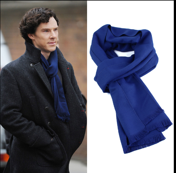Sherlock Holme Cosplay Scarf Soft Warm Wool Wrap Muffler with Tasseled Ends Cosplay Warm Scarf