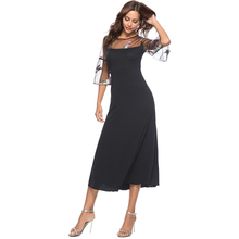 plus size dresses for women 5xl summer clothes 2019 embroidery mesh patchwork long black dress casual loose flowy dress 0114 mesh checkered flowy dress