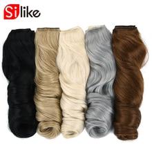 Silike 190g 24 tums sträckt vågig klämma i syntetiska hårförlängningar Värmebeständig fiber 4 Clips one Piece17 Available Colors