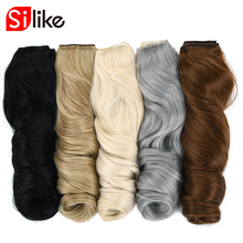 Silike 190g 24 inch Stretched Wavy Clip in Synthetic Hair Extensions Heat Resistant Fiber 4 Clips one Piece 17 Colors Available