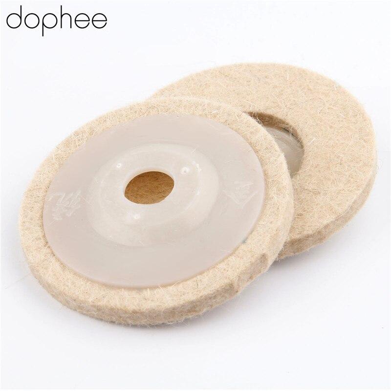 Dophee Dremel Accessories 80mm Polishing Pad Wool Felt Buffing Wheel Grinding Pad Polisher Disc For Metal Marble Ceramics 1PC