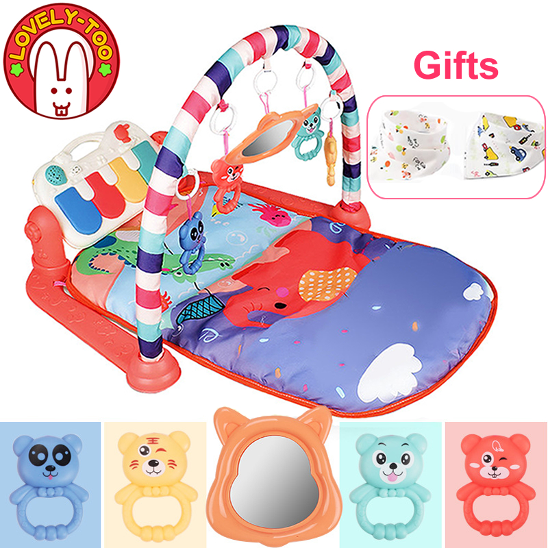 Lights /& 4 Rattle Toys for Infants Newborn 1-36 Month Sit Lay Down Tummy Time Sensory Development Educational Playtime Baby Kick and Play Piano Gym Activity Mat with 2 Modes Music Kick Piano