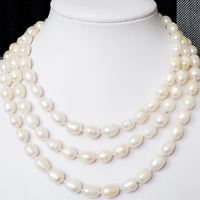 8 9mm Long Chain Jewelry Making Natural Freshwater Cultured White Rice Barrel Pearl Beads Necklace Elegant