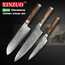 XINZUO 3 pcs Kitchen knives set Damascus kitchen knife Japanese sharp chef paring knife wood handle kitchen tool free shipping