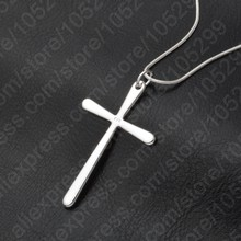 Women/Men Jewelry Wholesale Trendy 925 Sterling Silver Color Cross Pendant Necklace Punk Style Free Shipping(China)