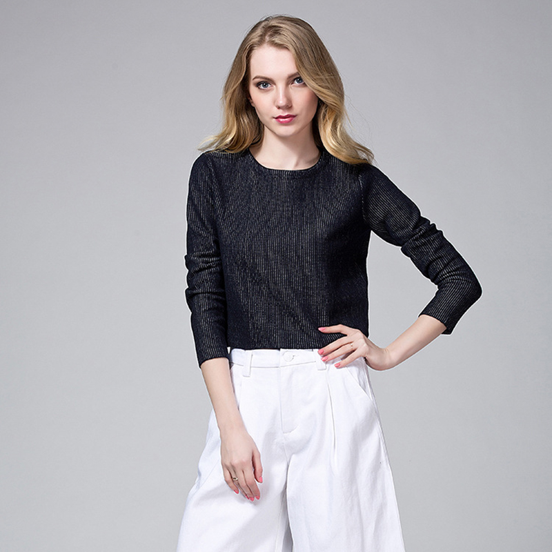New Arrivals Women Fashion Casual Knitting Pullovers Three-quarter Sleeves Tops Elegant Solid Color Blouse and Blusas Femininas