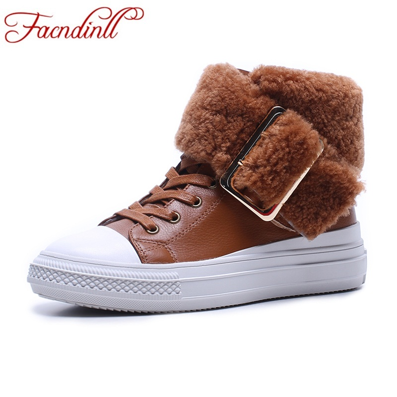 FACNDINLL fashion women ankle boots shoes genuine leather autumn winter wedges med heels lace up shoes woman casual short boots цены онлайн