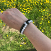 2Pcs/Set Couples Distance Bracelet Classic Natural Stone White and Black  4