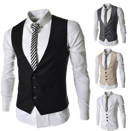 Magro cor sólida dos homens colete colete Casual Jacket negócios Tops três botões