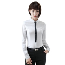 New elegant formal women shirt OL autumn tie high quality long sleeve Chiffon blouse office ladies plus size work wear slim tops