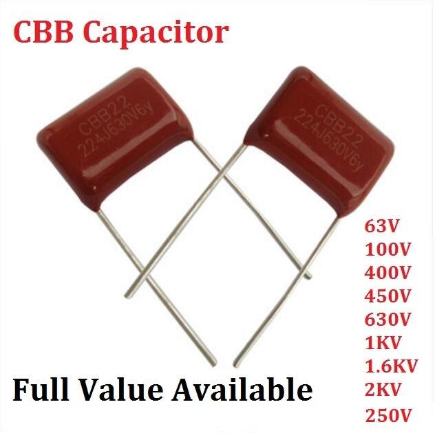 20pcs 2000V 222 J 0.0022uf 2.2nf 2200pf P15 CBB81 CBB metal film capacitor