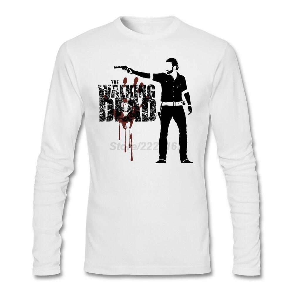 Desain t shirt unik - The Walking Dead Rick Grimes T Shirt Mens Desain Pop Musik Tshirt Dengan Untuk Dewasa