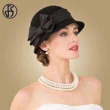 FS 2018 Ladies Vintage Wool Hats Women Black Fedoras Wide Brim Autumn Winter  Bow Felt Bowler Cloche Church Hat Warm Caps 4bd647f812d