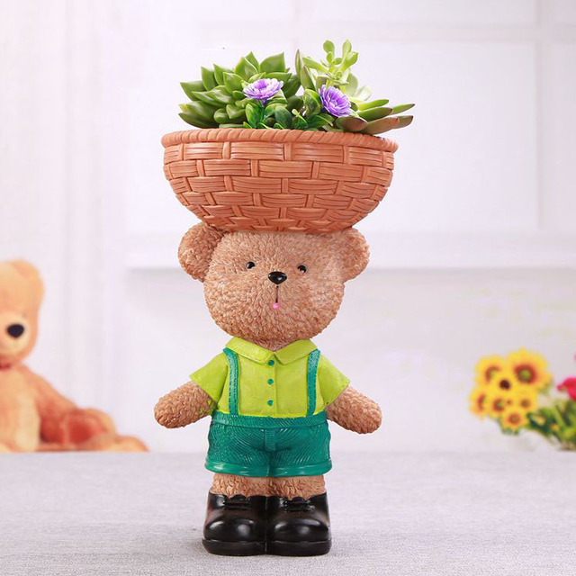Cute Mini Flower Pot Planter Pots Decorative Small Cartoon Bear Resin  Succulents Plant Lovely Potted Flowers