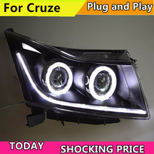 Car Styling Head Lamp for Cruze led headlights 2009-2015 angel eye led drl HID KIT Bi-Xenon Lens low beam цена в Москве и Питере
