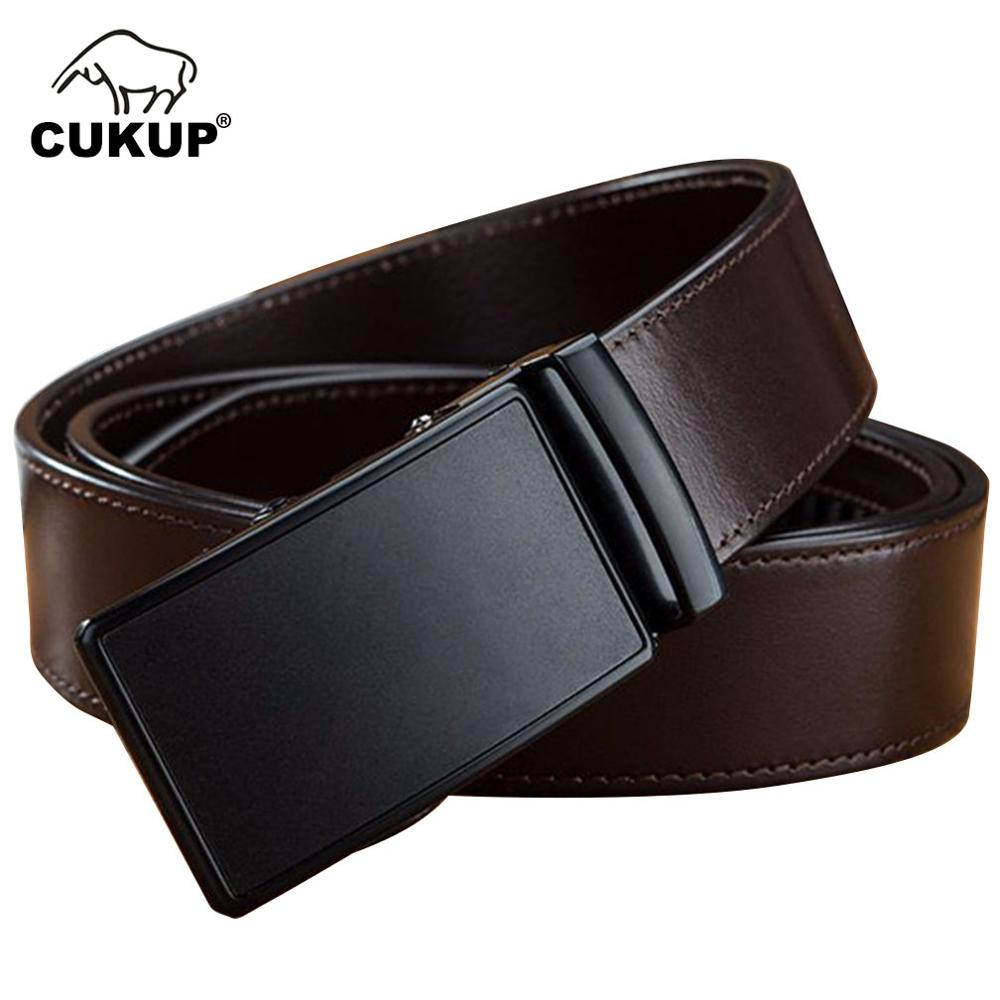 CUKUP Men's New Car Line Cow Leather Belts Luxury Automatic Metal Mens Dress Belt for Jeans Formal Casual Accessories Men NCK648