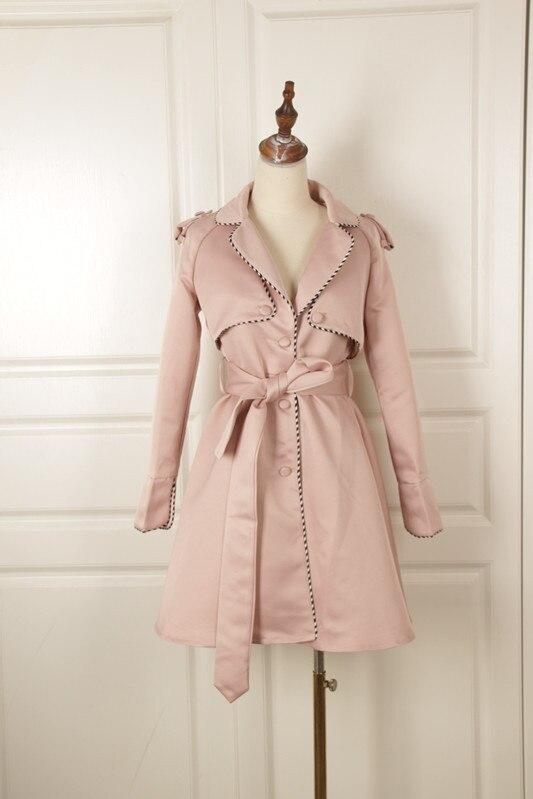 2018 Autunno Outwear Impermeabili Primavera Ol Sash E Elegante Petto Lungo Slim Donne Cappotto Di Modo Delle Trench Chic Il Singolo Colore Rosa wqUIxHH8