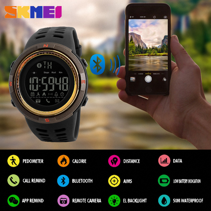 SKMEI Smart Watch Men Chrono Calories 5Bar Waterproof Sport Smartwatches Men Call Reminder Bluetooth Digital Watch Reloj Hombre
