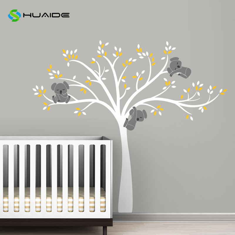 Modern koala tree branches wall decal baby nursery wall for Baby nursery tree mural