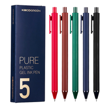 Kaco Pure Retractable Gel Pens 0.5mm Fine Point Dark Red/green/blue/brown Black Retro Colored for Bullet Journal 5pcs/box