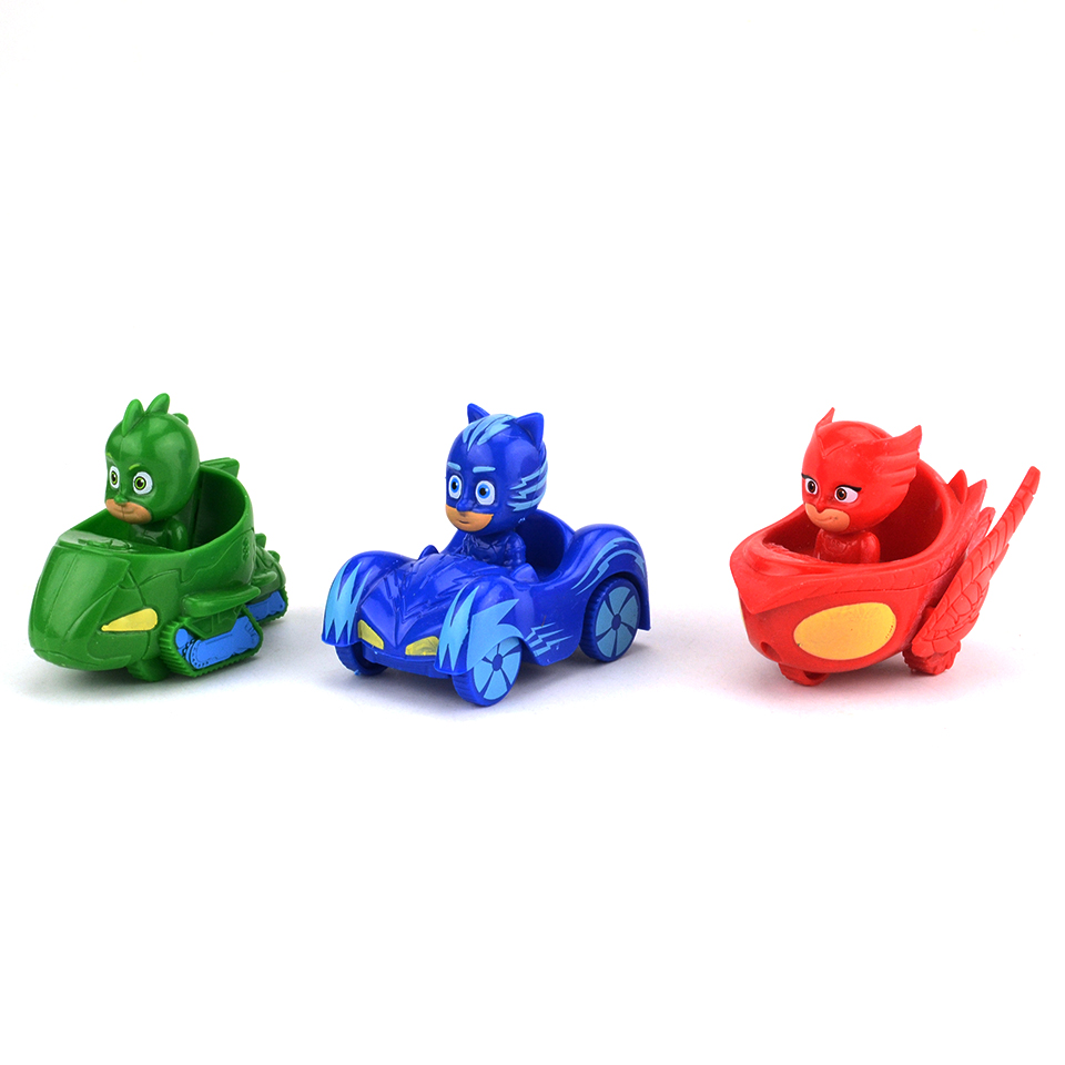 Hot Cartoon PJ Figure Mask With Car Set 4-7cm Characters Catboy Owlette Gekko Pjmasksed Action Figures Model Toys Birthday Gift 8pcs set the octonauts cartoon action figures kids toys captain barnacles medic peso model children birthday gifts with box