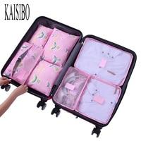 KAISIBO New Travel Make Up Organizer Bag Multifunction Clothing Luggage Traveling Storage Bags 7Pcs Set Women