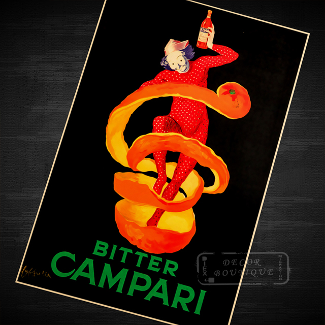 a5a42e45cc87c Bitter Campari bold figures popping out Design Classic Vintage Poster  Canvas Painting DIY Art Home Bar Posters Decor