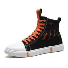 High Top Canvas Shoes Men Sneakers Lace-up Breatkable Casual Shoes with Side Zipper Classic Retro Style Black High Quality