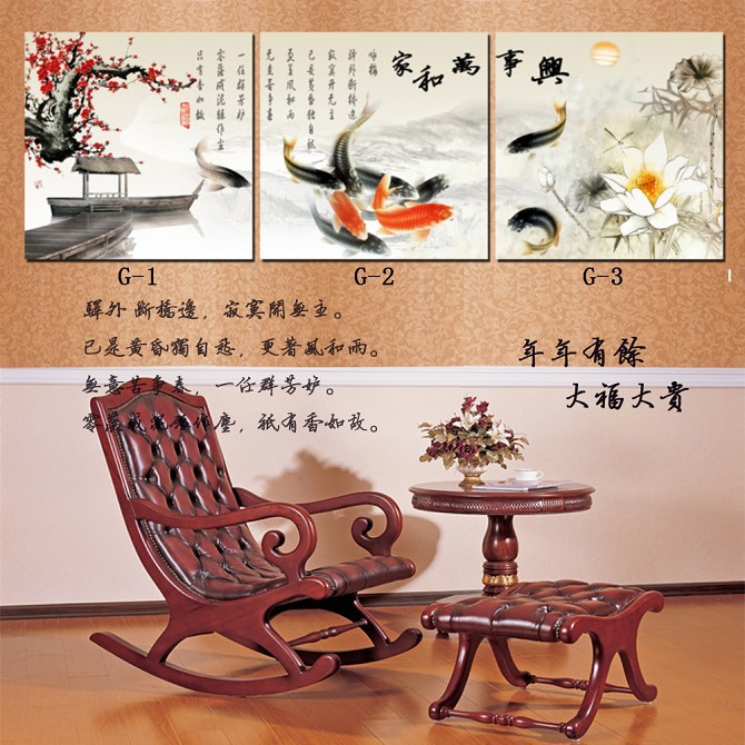 Home Decoration Wall Art Chinese Painting Koi Fish On Canvas Living Room