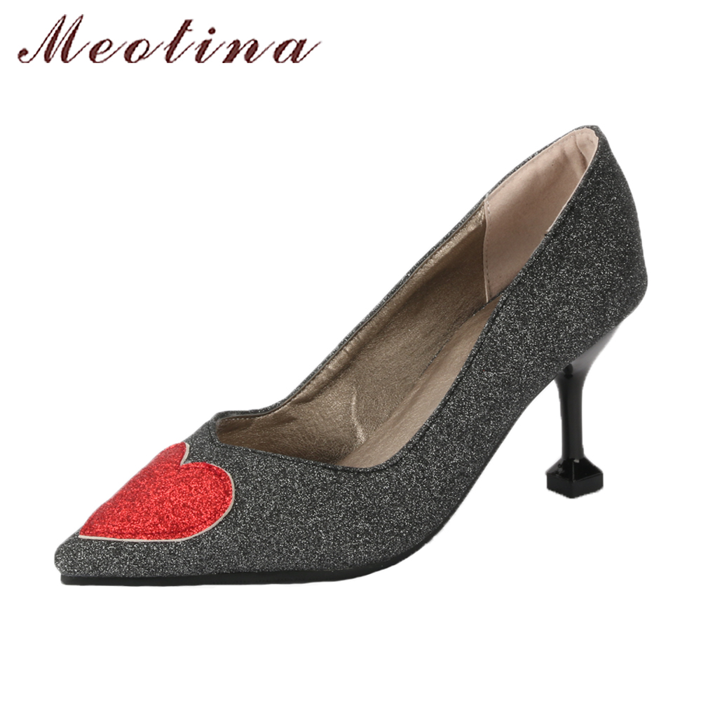 Meotina Women Wedding Shoes Pumps Hoof High Heels Bling Heart Party Shoes Spring 2018 Pointed Toe Slip On Shoes Black Gold Pumps meotina women wedding shoes 2018 spring platform high heels shoes pumps peep toe bow white slip on sexy shoes ladies size 34 43