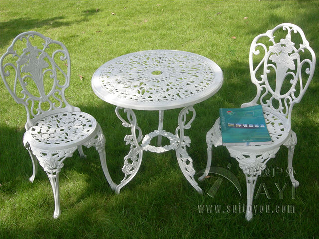 3 piece White Bistro Patio Set Table and 2 May Chairs Set ...