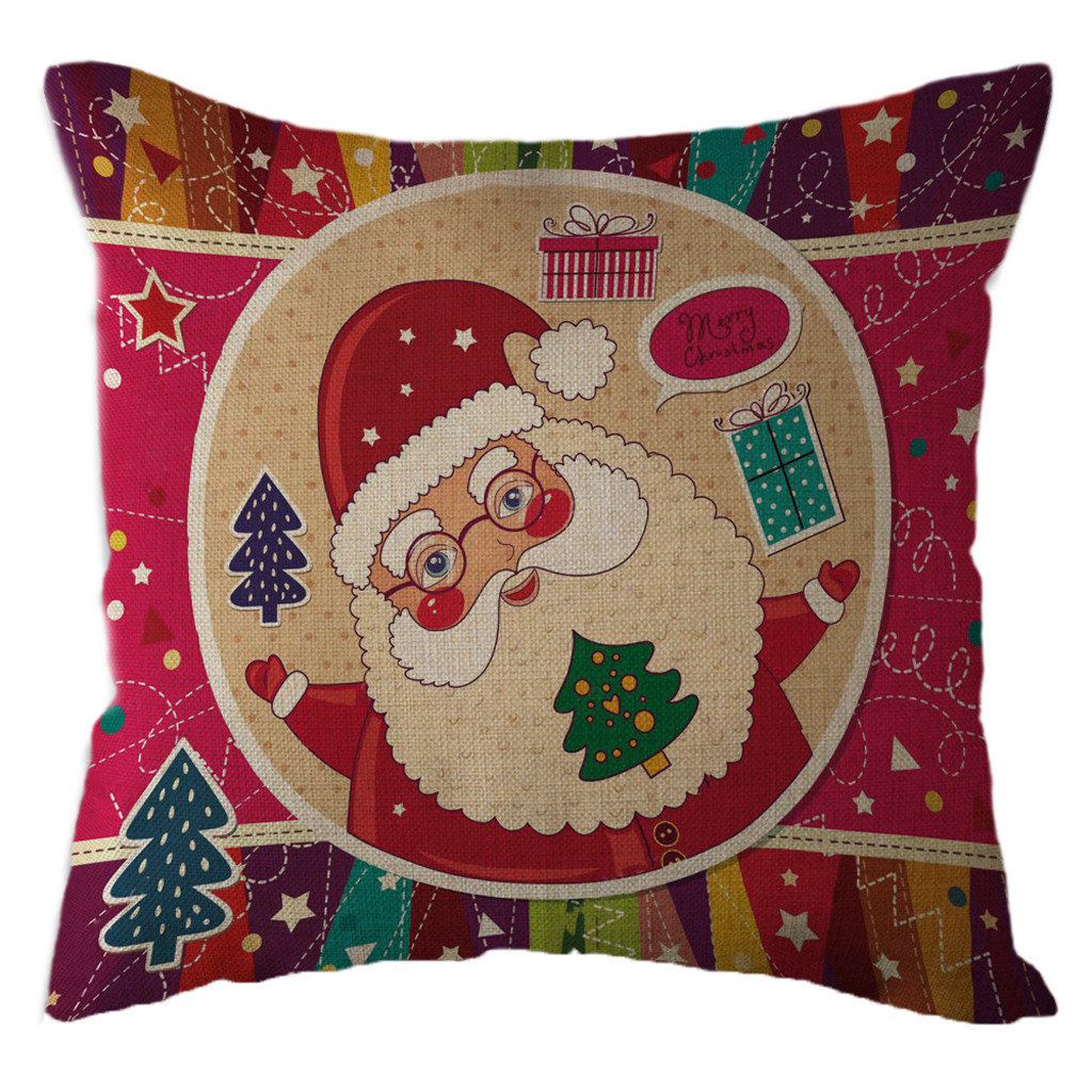 New Products 2019 Christmas Santa Claus Pillowcase Linen Pillow Cover Throw Pilow For Home Fundas Almohadas Navidad Coussin Noel