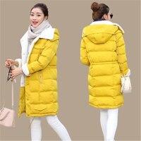 2017 New Fashion Korean Winter Coat Women Long Parkas Winter Thicken Feather Padded Jacket Girls BLACK